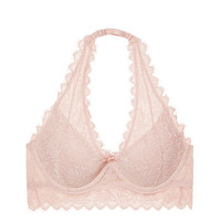Lace Lightly Lined Halter Bralette - PINK - Victoria's Secret