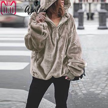 AZULINA Winter Oversized Hooded Soft Velvet Sweatshirts Women Hoodie Pullovers Solid Outwear Female Casual Ladies Tops 2018 New