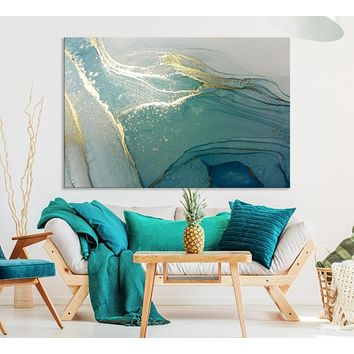 Large Fluid Effect Abstract Wall Art Canvas Print