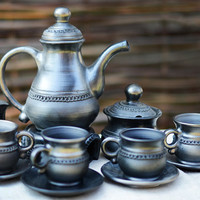 Handmade Ceramic Tea Set. Organic Black Clay Coffee Set. Wedding Gift. Housewarming Gift Ideas By Three Snails. Free Shipping!