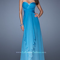 Long Strapless Ombre Evening Gown by La Femme