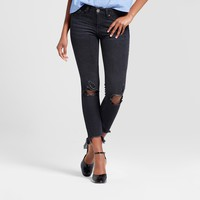 Women's Destructed Fray Hem Ankle Skinny Jeans - Almost Famous (Juniors') Black