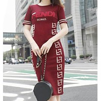 FENDI Summer New Trending Women Stylish Print Sexy Bodycon Knit Knee-Length Dress Red