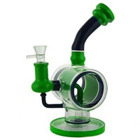 "10"" StickyPunch Stemless Water Pipe w/ Donut Recycler & Bent Neck."