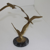 Brass Seagull sculpture on marble base