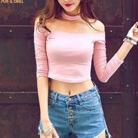 Choker top crop top long sleeve bustier off shoulder women white cropped feminino pink high Neck cotton fitness tank shirts
