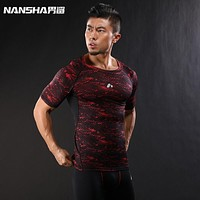 Summer Men Workout Breathable Quick drying Top Tee Sporting Runs Compress Fitness T-shirts Clothing T Shirts