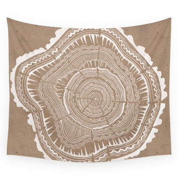 Society6 Tree Rings - White Ink On Kraft Wall Tapestry