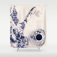 coffee blues Shower Curtain by Ingrid Beddoes | Society6