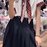 """""""Louis Vuitton"""" Women Casual Fashion Letter Young A Pleated Skirt Short Sleeve Shorts Set Three-Piece Clothes"""