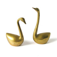 Vintage Swan Figurines, Solid Brass Statues, Bird Animals Figures, Pair