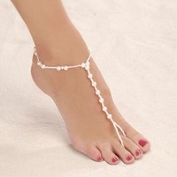 Darice VL1901LG Pearl Bead Foot Anklet Wedding Jewelry, Large, 9 to 10-Feet