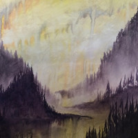Western Summer Watercolor Painting Original Art Painting Watercolor on Canvas Art Forest Wooded Misty Landscape Watercolor Canvas Wall Art