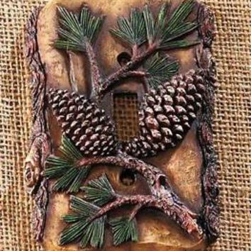 Pine Cone Single Light Switch Wall Plate Lodge Cabin Rustic Country Home Decor