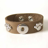 Pet Lovers Taupe Oiled Leather Single Popper Chunk by OGBeadShop