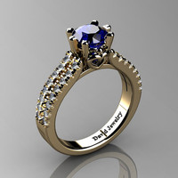 Classic 14K Yellow Gold 1.0 Ct Blue Sapphire Diamond Solitaire Engagement Ring R1027-14KYGDBS