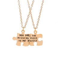 """2pcs / set BFF Puzzle """"You Are The Missing Piece To My Puzzle"""" Couple Necklace Best Friend Forever"""