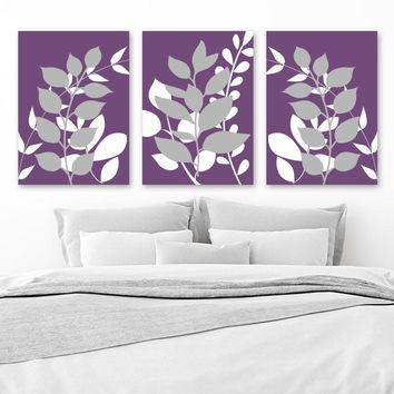 Purple Gray Bedroom Wall Decor, Leaves CANVAS or Prints, Leaf Purple Gray Bathroom Decor, Leaf Foliage Wall Decor, Set of 3 Leaves Artwork