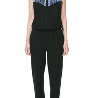 LONG JUMPSUIT WITH BEADING AT THE FRONT - Jumpsuits - TRF - ZARA United Kingdom