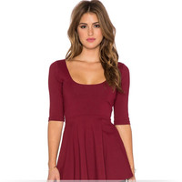 Red Wine Sleeve A-Line Shirt