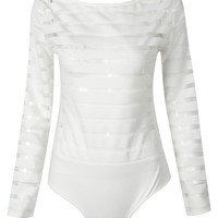 White Sheer Striped Backless Long Sleeve Bodysuit