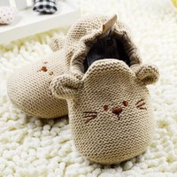 US SIZE Fashion New Autumn Winter Baby Shoes Girls First Walkers Newborn Crib Shoes 0-18M Shoes