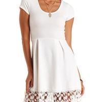 Floral Lace-Trim Skater Dress by Charlotte Russe
