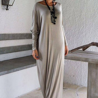Light Gray Long Sleeve Asymmetric Maxi Dress