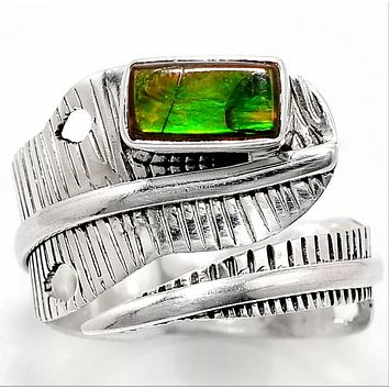 Ammolite Sterling Silver Adjustable Wrap Ring