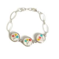 Tiny wild flowers bracelet, red yellow and blue pressed flower jewelry, botanical bracelet, Adjustable resin bracelet, floral accessories