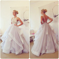 Elegant Backless A-Line Prom Dresses