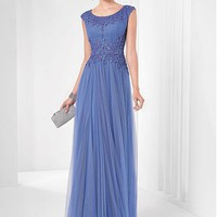 [99.99] Marvelous Tulle & Satin Scoop Neckline Floor-length A-line Evening Dresses with Beadings and Sequins - Dressilyme.com