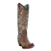 Corral Cognac Purple Glitter Inlay and Studs Boot