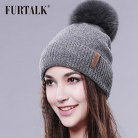 FURTALK Wool Hat Fox Fur Pom Pom Hat Women Winter Fur Hat