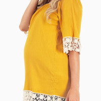 Mustard Lace Trim Maternity Tunic