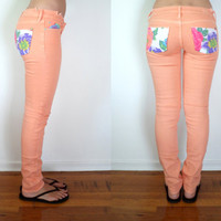Upcycled Neon Peach Skinny Jeans Floral Pockets Size 3