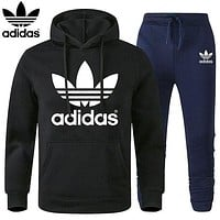 Adidas Classic hot sale printed letter logo hooded sweatshirt trousers two-piece suit