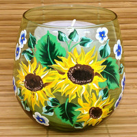 Hand Painted Green Glass Candle Holder With Sunflowers
