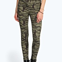 Evie Low Rise Camo Skinny Jeans