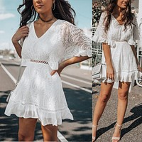 2020 new women's sexy V-neck lace mid-sleeve dress