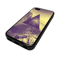 Apple iPhone 5C 5 C Case Cover Skin Hipster Black Triangle Wilderness Desert DESIGN BLACK RUBBER SILICONE Teen Gift Vintage Hipster Fashion Design Art Print Cell Phone Accessories