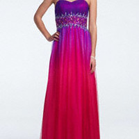 Ombre Mesh Ball Gown with Beaded Waist