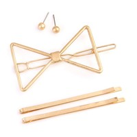 71626 - BRASS METAL HAIR PIN AND EARRING SET