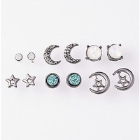 White Stone Moon and Star Earring 6 Pair - Spencer's
