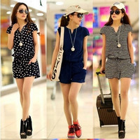 New Summer Sexy V Neck Elastic Waist Casual Jumpsuit Overall Shorts Playsuit Romper For Ladies Women 3 Styles 5 Sizes = 1932807300