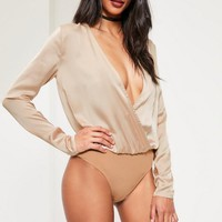 Missguided - Tall Exclusive Beige Deep Plunge Satin Bodysuit