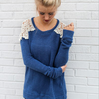 Blue Cutout Lace Patchwork Sweater