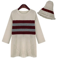 Striped Half Sleeve Knitted Sweater with Hat