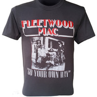 Fleetwood Mac T-Shirt Black Washed Vintage Print Tee Shirt Retro Tshirt Music Band Casual Alternative Unisex Size S M L XL XXL Q-148