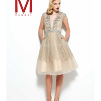 Preorder - Mac Duggal 11011R Taupe Cap Sleeve Lace Embellished Dress 2016 Prom Dresses